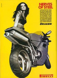 Pirelli advertising featuring Ducati 916