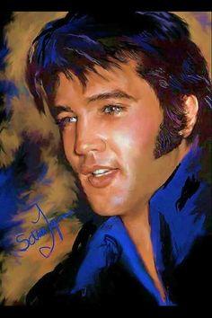 Elvis Presley art work by Sara Lynn Sanders Elvis Und Priscilla, Divas, Elvis Presley Pictures, Lisa Marie Presley, Portraits, Rhythm And Blues, Graceland, Rock And Roll, My Idol