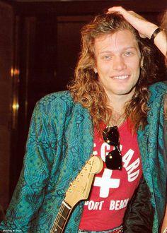 Jon Bon Jovi - long hair, 80's.