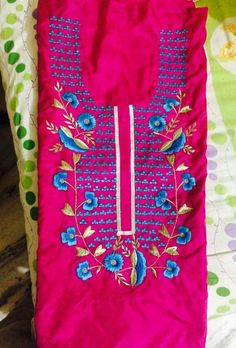 Machine Embroidered Suit in Magenta Color,With Blue Contrast