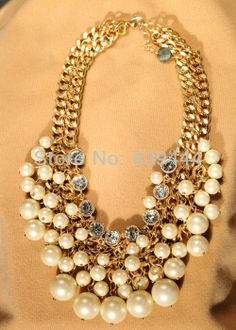 joyería de moda elegante popular dulce collar de perlas grandes