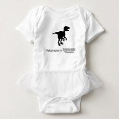 velociraptor funny science baby bodysuit - humor funny fun humour humorous gift idea