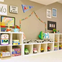 Ikea Kallax Inspiration & Hacks for every room. Loads of simple ideas for using Ikea Kallax shelf or Expedit shelf to organise your home in style! Ikea Kallax Shelf, Ikea Kallax Hack, Ikea Shelves, Ikea Shelf Hack, Ikea Playroom, Ikea Kids Room, Diy Storage Desk, Record Storage, Storage Benches