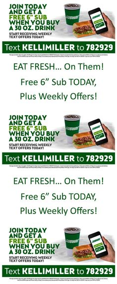 Get a FREE 6 inch sub sandwich from subway TODAY - plus, get even more savings each week! (ad)