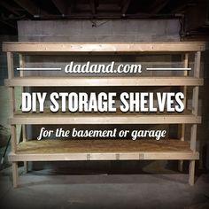 DIY 2×4 Shelving for Garage or Basement   https://dadand.com/diy-2x4-shelving/