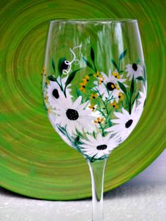 Wine Glass Hand Painted Hint of Spring White by GlassGaloreGal, $10.00