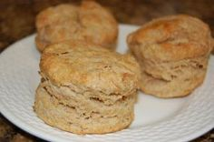 Easy Whole Wheat Biscuits-      2 cups whole wheat flour      4 teaspoons baking powder      ½ teaspoon salt      ¼ cup cold unsalted butter      1 cup milk     In med. bowl combine flour, baking powder, salt. Mix well with whisk. Cut the ½ stick butter into little pea sized pieces and then mix the pieces into the flour mixture. Using a fork, try to mash the butter pieces as you mix it together with the flour into coarse crumbs. Pour in milk & Mix. (cont.)