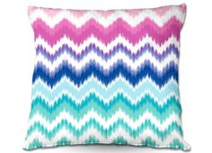 Throw Pillows Indoor Outdoor Decorative Unique Artistic | Organic Saturation's Ombre Ikat Chevron