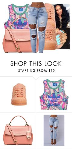 """Untitled #384"" by fashionweeklyneeds ❤ liked on Polyvore featuring adidas, adidas Originals and Michael Kors"