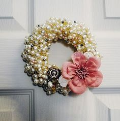 Bling Wreath...I may have to hit up my mom for some of my grandmother's old jewelry.  What a neat way to preserve it!