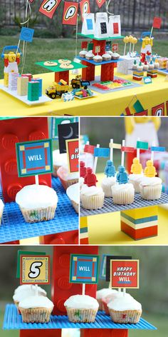 White cake/cupcakes with Lego men and candles - easy and cute. I like the set up on the Lego boards