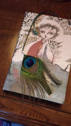 bookmark peacock feather satin string on large 3 inch paperclip with small Czech round beads by GiftsByAnne, $8.00 USD