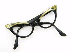Vintage 50s Black Cat Eye Eyeglasses Frame 42mm Yellow pearl. $78.00, via Etsy.