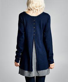 Navy Open-Back Sweater