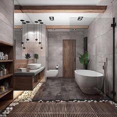 Ideas For Zen Bathroom Design Design A Space, House Design, Contemporary Bathroom Designs, Contemporary Shelves, Contemporary Interior, Contemporary Toilets, Contemporary Houses, Bathroom Interior Design, Zen Bathroom Design