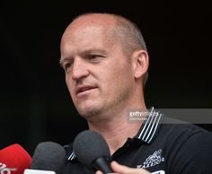 Dublin , Ireland - 23 August 2016; Glassgow Warriors head coach Gregor Townsend speaking to the media during the launch of the Guinness PRO12 2016/17 Championship at the Aviva Stadium in Dublin.