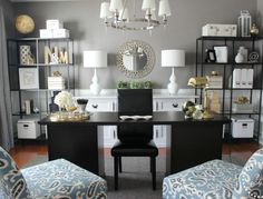 love the greys, with a lot of white accents...and some small black accents too...I would substitute the black with pops of color....the set up is perfect for the church office layout!!