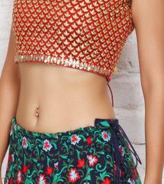 Green & Red Georgette & Art Silk Lehenga Set | by Sanskriti