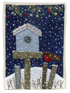 pixels: Sharon Blackman, how sweet is this Freehand Machine Embroidery, Free Motion Embroidery, Fabric Cards, Fabric Postcards, Christmas Applique, Christmas Sewing, Small Quilts, Mini Quilts, Christmas Makes