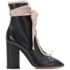 Leather ankle boots (€720) ❤ liked on Polyvore featuring shoes, boots, ankle booties, beige ankle boots, leather bootie, leather boots, leather lace up booties and short lace up boots
