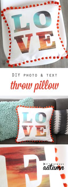 Cool! Put a favorite photo inside text for a modern, DIY typographical throw pillow. Click through to learn how. DIY home decor. #ad