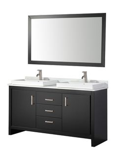 """BELARUS COLLECTION : This double sink modern bathroom vanity is made out of solid oak wood cabinetry. Incorporates two overmount ceramic sinks. Has three soft closing full extension drawers and two doors equipped with stainless steel handles. A matching solid oak wood framed mirror is also included. Faucets are available in a polished chrome or brushed nickel finish,  Pop-up drains and flexible hoses will be provided as well.   Weights & Dimensions Overall: 34""""(H) x 60""""(W) x 20""""(D)"""