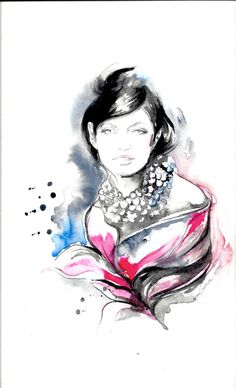 Fashion Watercolor - Fashion Chanel Style Illustration - Original Watercolor Painting by Lana