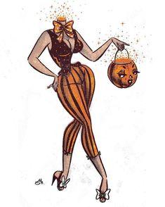 Halloween Pin Up Art Famous Artists - bigoltrucks Halloween Pin Up, Halloween Horror, Vintage Halloween, Halloween Costumes, Dibujos Pin Up, Arte Obscura, Halloween Illustration, Pin Up Art, Pics Art