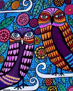 Owls Folk Art Tree Print Poster Painting Nursery Childrens Decor Heather Galler
