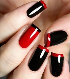 French Nails - 30 proposals for stylish and charming nail designs Red French Manicure, Red Manicure, Red Nails, Manicure And Pedicure, French Manicures, Red Black Nails, French Polish, Black Ombre, Manicure Ideas