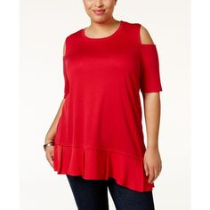 Love Scarlett Plus Size Ruffled Cold-Shoulder Top ($35) ❤ liked on Polyvore featuring plus size women's fashion, plus size clothing, plus size tops, bright red, red cold shoulder top, frilly tops, red top, cut-out shoulder tops and flutter-sleeve top