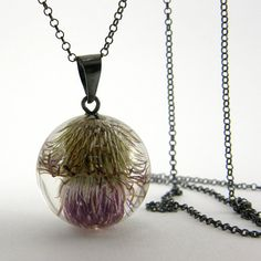 Sylwia Calus | Sisicata on Etsy | Botanical Mystic Necklace Purple Burdock in Clear Resin