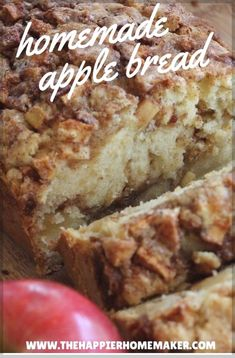 Apple Cinnamon Bread One of the most popular recipes out there-this amazing cinnamon apple bread recipe is the perfect fall dessert! (And makes your house smell amazing! Bread Machine Recipes, Easy Bread Recipes, Cinnamon Recipes, Apple Baking Recipes, Apple Bread Recipe Healthy, Ww Recipes, Best Apple Recipes, Breakfast Bread Recipes, Breakfast Fruit