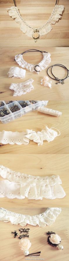 DIY lace jewelry #craft #lace #jewelry #diy #tutorial #howto