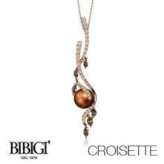 #Bibigi   Collezione #Croisette   Collana in oro rosa, perle chocolat, diamanti brown e diamanti