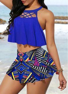 fai da te Cage Neck Padded Top and Tribal Print Pantskirt Cheap bikini Swimwear online for sale Casual Plus Size Outfits, Cute Outfits, Beach Outfits, Look Fashion, Fashion Outfits, Womens Fashion, Fashion Trends, Blue Fashion, Asian Fashion