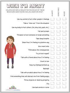 Anger Management Techniques, Anger Management Worksheets, Anger Management For Kids, Social Work, Social Skills, Mental And Emotional Health, Cognitive Behavioral Therapy, Preschool Learning, Worksheets For Kids