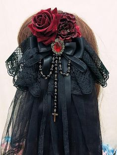 Diablo Bride Lolita Headdress with Veil-Black Gothic Hair Accessories – jewelry Lolita Hair, Lolita Dress, Lolita Makeup, Gothic Lolita Fashion, Gothic Outfits, Lolita Style, Steampunk Clothing, Steampunk Fashion, Gothic Clothing