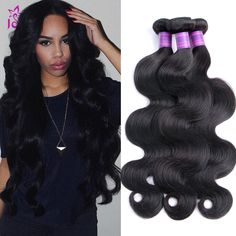 New Arrival!!! Body Wave Human Hair, #1B Natural Color. 3/4 Pieces Lot. You Cannot Miss This Chance.