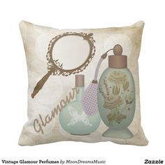 #VintageGlamour #Perfumes #SquareThrowPillow by #MoonDreamsMusic