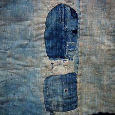 Antique Japanese Boro Patchwork Indigo Shikibuton (futon underquilt or upholstery)