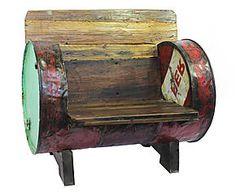 Poltrona in legno e metallo Industrial vintage - 90x57x82 cm