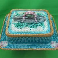 Antique Majolica Sardine Box, Turquoise Basket w/ Shell Corners