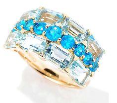 14K Yellow Gold 4.16ctw Neon Apatite & Sky Blue Topaz Three-Row Ring Sz7 #GemTreasuresbyChuckClemency