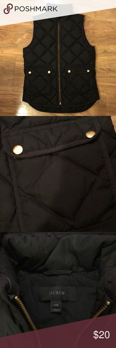 J.Crew quilted vest Classic black quilted vest from J.Crew with gold detailing. Fits like an XS/S. J. Crew Jackets & Coats Vests