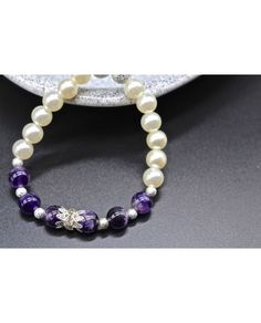 DIY Pearls Beaded with Amethysts Stretch Bracelet