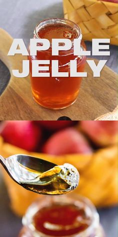 Easy Homemade Apple Jelly Recipe [Two Ingredients] - How to make apple jelly preserve with harvest t Jelly Recipes, Jam Recipes, Canning Recipes, Apple Recipes, Fruit Juice Recipes, Canning Tips, Fruit Preserves, Fruit Jam, Jelly Fruit