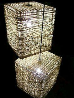 How to Make Designer Paper Yarn Lamp - DIY & Crafts - Handimania Basket Lighting, Cool Lighting, Lighting Design, Luminaire Design, Lamp Design, Luminaire Original, Diy Lampe, Creative Lamps, Light Fittings