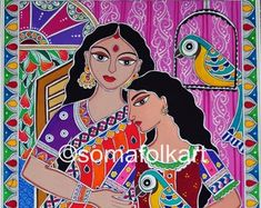 Handmade original Madhubani Art and Prints par Somafolkart sur Etsy Madhubani Art, Madhubani Painting, Bright Colors Art, Indian Folk Art, Indian Paintings, Indian Artwork, Durga Goddess, Traditional Art, Painting Inspiration