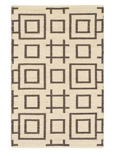 73% OFF Hand Woven Natural Plush Kilim, Black/Yellow/Cream, 3' 7